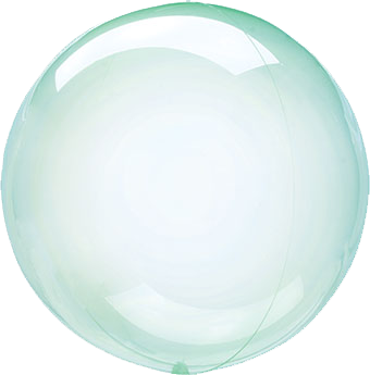 green crystal clear round balloon with helium