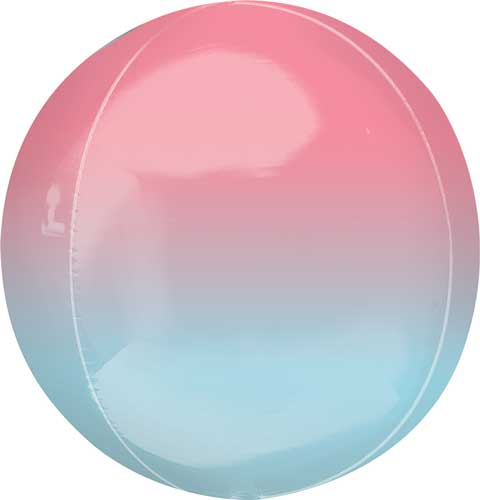 pink/blue ombre round balloon with helium