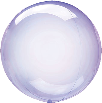 purple crystal clear round balloon with helium