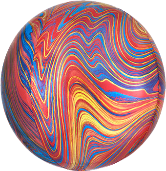 red/blue marble round balloon with helium