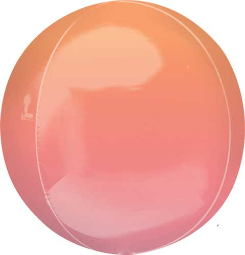 red/orange ombre round balloon with helium