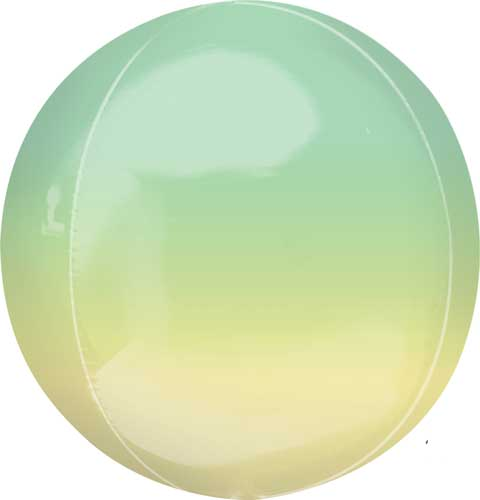 yellow/green ombre round balloon with helium