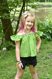 Vintage Butterfly Flutter Top Size 2- RTS Summer Crop Antique Ready to Ship