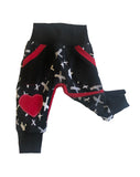 X Marks The Spot Joggers - Heart Knee Patch Ready to Ship sizes 6-9 Months Only! - Handdmade Valentines Grunge Punk