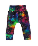 Rainbow Galaxy Slim Joggers - Size 3-6 Months Infant Baby - Ready To Ship - Colorful Stars Cosmos Handmade