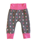 Punk Rock Girl Slim Joggers - Size 3-6 Months Infant Baby - Ready To Ship - Skulls pink rockstar Gift Shower Handmade