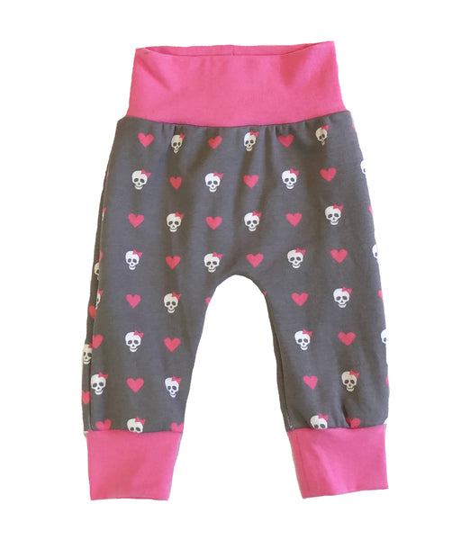 Punk Rock Girl Slim Joggers - Size 0-3 Months Infant Baby - Ready To Ship - Skulls pink rockstar Gift Shower Handmade