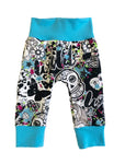 Wild Child Slim Joggers - Size 0-3 Months Infant Baby - Ready To Ship - Colorful Punk Tattoo Handmade