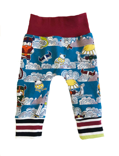 Vikings Slim Joggers - Size 0-3 Months Infant Baby - Ready To Ship - Colorful Stripes Voyage Warrior Handmade