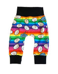 Cranky Clouds Rainbow Stripe Slim Joggers - Size 0-3 Months Infant Baby - Ready To Ship - Colorful Unique Bright Handmade