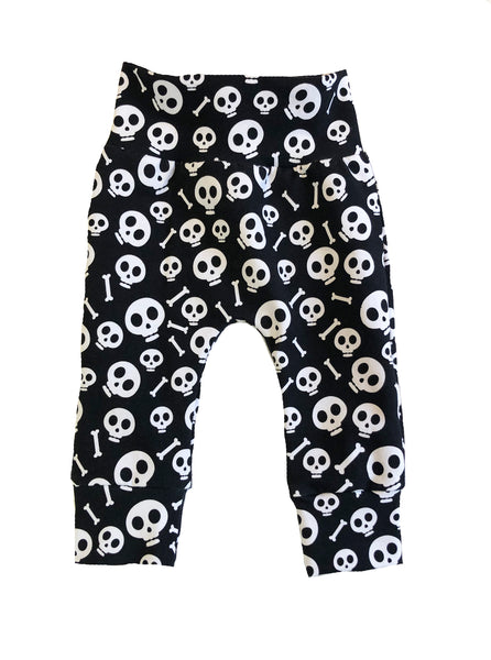 Skulls Monochrome Slim Joggers - Size 0-3 Months Infant Baby - Ready To Ship - Black White Hipster Punk Handmade