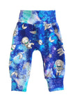 Space Adventures Blue Galaxy Slim Joggers - Size 3-6 Months Infant Baby - Ready To Ship - Colorful Unique Bright Handmade