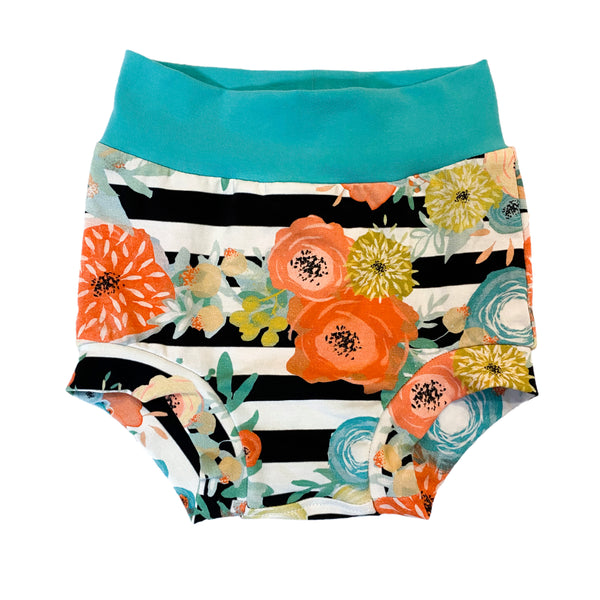Paradise Stripe Floral Bummies - Size 3  - Ready to Ship! Summer Colorful Spring Shorts