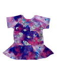 Cosmic Adventure Raglan Style Peplum Tunic - Ready to Ship Size 3 - Handmade Unique Fabric Galaxy
