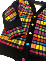 Rainbow Plaid Elbow Patch Cardigan - RTS Size 6 - With Snaps Added - Ready to Ship