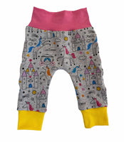 Fairytale Unicorn Slim Joggers - Size 0-3 Months Infant Baby - Ready To Ship - Rainbow Gift Shower Handmade