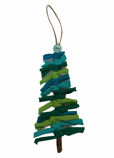 Happy Little Tree Ornament in Blue/Greens - Handmade unique gift