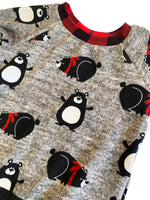 Charcoal Snuggly Bears Raglan Long Sleeve Shirt * Size 2/3  Ready to Ship * Buffalo Plaid Handmade Cartoon Sweatshirt