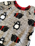 Charcoal Snuggly Bears Raglan Long Sleeve Shirt * Size 6  Ready to Ship * Buffalo Plaid Handmade Cartoon Sweatshirt