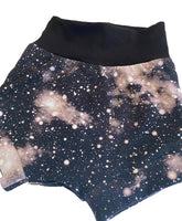 Galaxy Monochrome Boy Shorties size 18-24 Months RTS  - Spring Summer Shorts Stars Ready to Ship