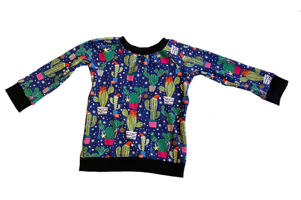 Jolly LIttle Cactus Raglan Long Sleeve Shirt * Size 4/5 Ready to Ship * Handmade Holiday Sweatshirt