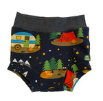 Camping Trip Bummies, Size 12-18 Months - Ready to Ship! Camper Vacation Summer Forest Shorts