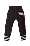 Charcoal & Monochrome Stripes Pocket Joggers - Ready to Ship sizes 12-18 Months - Handmade Black White Striped