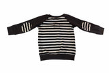 Charcoal & Monochrome Stripes Raglan Long Sleeve Shirt * Size 12-18 Months - Ready to Ship * Elbow Patches Handmade  Sweatshirt