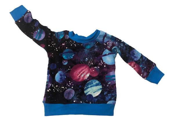 Cosmos Raglan Long Sleeve Shirt * Size 6-12M Ready to Ship * Handmade Galaxy Planets Sweatshirt