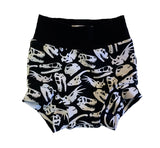 Dino Skulls Monochrome Boy Shorties size 6-9 Months RTS - Spring Dinosaur Summer Shorts Play Party Ready to Ship