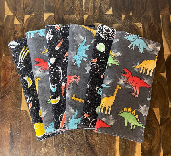 Dinosaurs & Outerspace WIPE UP's , Set of 6 - Reusable Napkins Tissues Eco Friendly Earth Safe RTS Ready To Ship