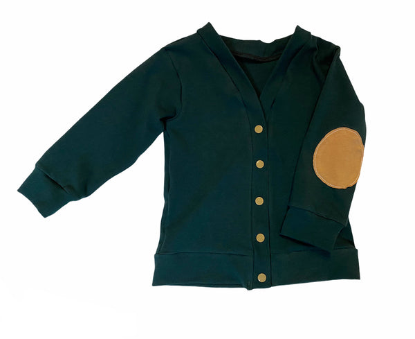 Evergreen & Tan Little Scholar Elbow Patch Cardigan - RTS Size 2T - With Snaps Added - Ready to Ship Fall Holiday