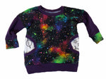 Galaxy Purple Long Sleeve Raglan Shirt * RTS Size 6-12 Months  * Handmade Stars Cosmos Pocket