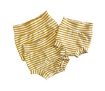 Golden Stripes Bummies, Sizes 0-3 months, 12-18 months only - golden mustard Handmade Spring Summer Shorts