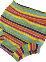 Springtime Rainbow Stripes Bummies, Size 12-18 Months - Ready to Ship! Heather Gray Vacation Summer Striped Shorts