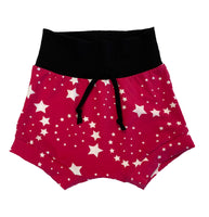 Hot Pink Shooting Star Boy Shorties size 4/5  RTS  Faux Drawstring - Spring Stars Summer Shorts Outside Ready to Ship