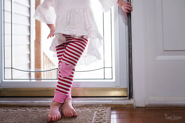 4b567ef5f7eb6 Red/White striped & Pink knee patch heart leggings - size 3 months to 6