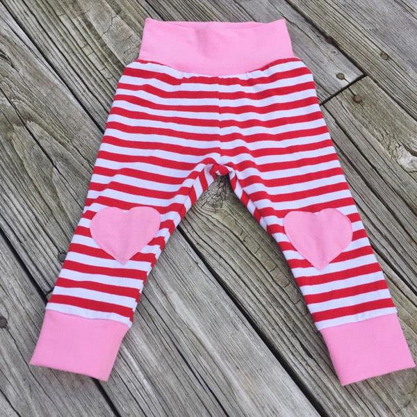 3cbe356db5a33 ... Red/White striped & Pink knee patch heart leggings - size 3 months to 6  ...