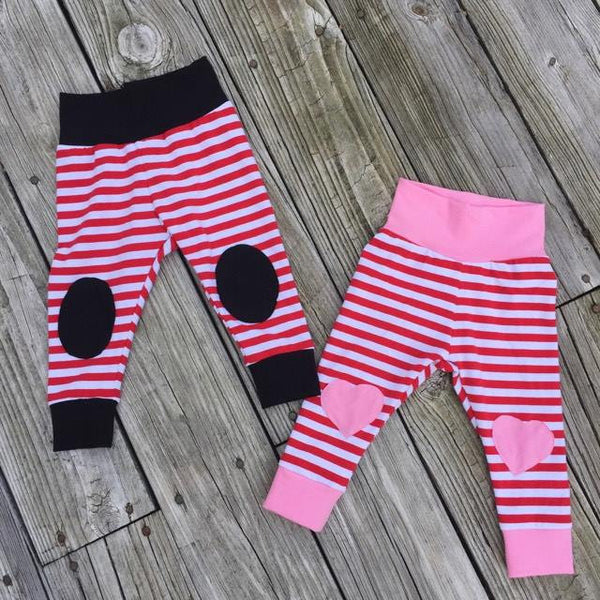 b86bc1f041c0e ... Red/White striped & Pink knee patch heart leggings - size 3 months to 6