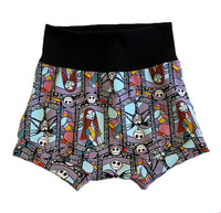 Jack and Sally Stained Glass Boy Shorties size 5/6 RTS  - Spring Summer Shorts Nightmare Before Christmas Ready to Ship