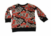 MixTape Raglan Long Sleeve Shirt * Size 4/5 Ready to Ship * Handmade Music 90's Cassette Sweatshirt