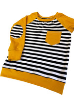 Mustard & Monochrome Stripes Raglan Long Sleeve Shirt * Size 3/4 - Ready to Ship * Elbow Patches Handmade Sweatshirt