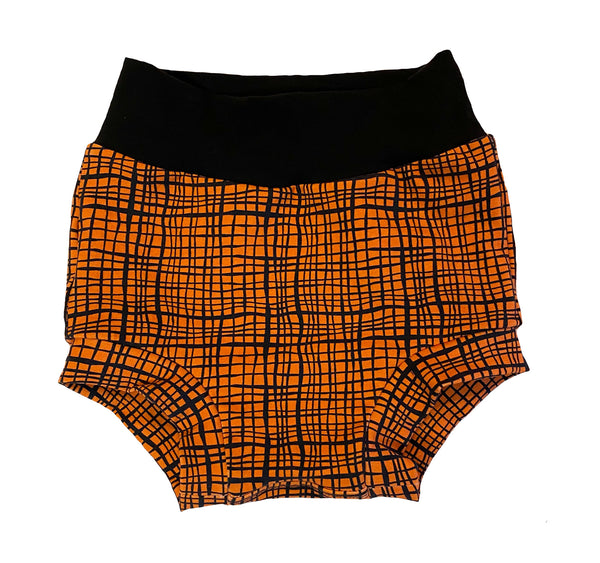 Orange & Black Plaid Bummies - Sizes 2 & 3 - Ready to Ship! Fall Bright Crosshatch Shorts OOAK