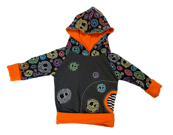 Charcoal & Orange Scribble Skulls Grow With Me Raglan Hoodie * RTS Size fits 3 to 6 years * Handmade Rainbow Splatter Adjustable Unique Size 3 4 5 6 4/5 5/6 2/3