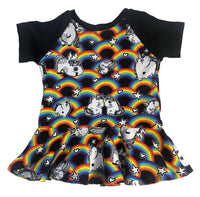 Rainbow Unicorn Raglan style Peplum Tunic - Ready to Ship Size 2 - Handmade Unique Fabric