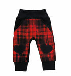 New!! Red Plaid I Heart Grunge Joggers - Ready to Ship sizes 9-12 Months, 12-18 Months and 3/4 Only - 1 each! Handmade Valentines
