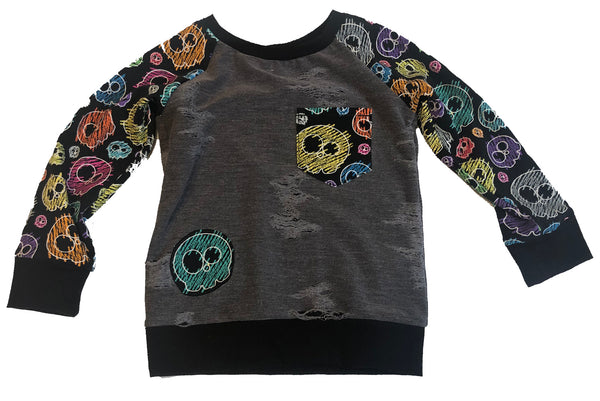 Scribble Skulls Distressed Raglan Size 3/4 OOAK Long Sleeve Shirt - One of a kind Lightweight Knit Punk Rainbow RTS