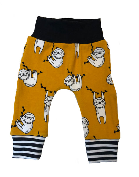 Sleepy Sloth Slim Joggers - Newborn 0-3 Months - Ready To Ship - Mustard Stripes Handmade