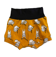 Sleepy Sloth Boy Shorties size 9-12 Months RTS  - Spring Summer Shorts Ready to Ship