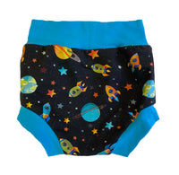 Cosmic Adventure Bummies size 6-9 Months Ready To Ship  - Spring Outerspace Summer Shorts Outside Stars Planets RTS